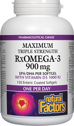 Get All Of Your Omega-3s And Vitamin D With Natural Factors Maximum Triple Strength RxOMEGA-3 With Vitamin D3 1000 IU!